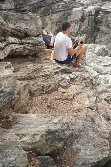 on rocks